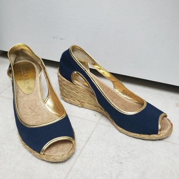fc29c86b6f9 Ralph Lauren peep toe shoes espadrille wedges